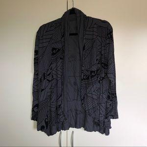 Polynesian print cardigan